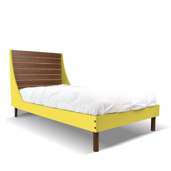 Minimo Twin Bed - Walnut Yellow | Modern Bedroom Furniture for Kids | Los Angeles