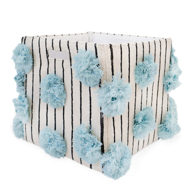 "Cotton Stripped Pom Pom Storage Bin Sky Blue | 12"" x 12"""