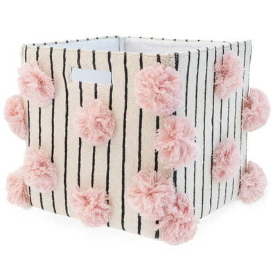 "Organic Cotton Stripped Pom Pom Storage Bin - Pink  | 12"" x 12"""