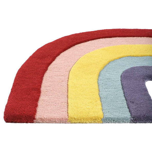 Modern Kids and baby furniture and decor rainbow handmade hooked 100% wool Rug - nicoandyeye.com