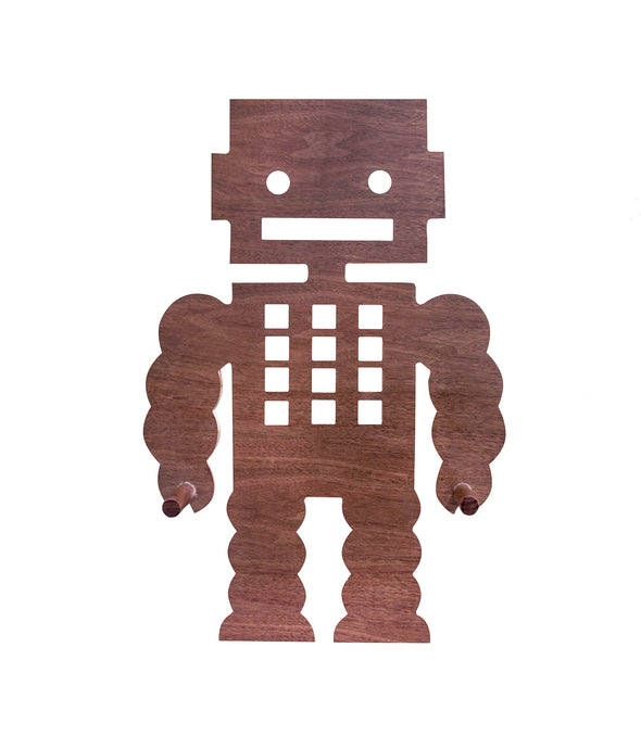 Nico & Yeye Walnut Pegbot 3617 Peg rack. Kids Furniture_Robots wall decorations