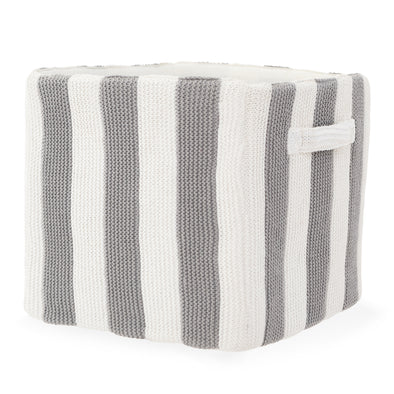 "Stripped Knitted Cotton Storage Bin - Gray and White | 12"" x 12"""