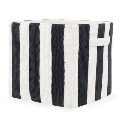 "Stripped Knitted Cotton Storage Bin - Black and White | 12"" x 12"""