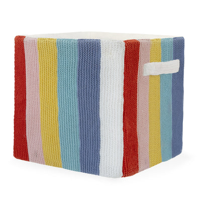 "Stripped Knitted Cotton Storage Bin - Rainbow | 12"" x 12"""
