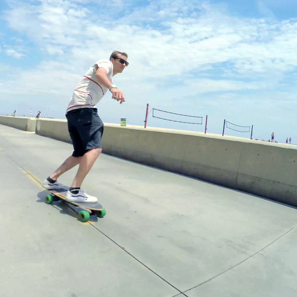 riding electric skateboard