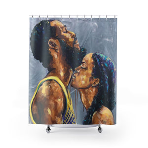 Naturally Black Love V Shower Curtains