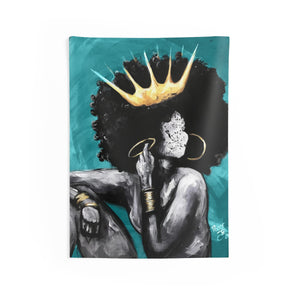 Naturally Queen VI TEAL Indoor Wall Tapestries