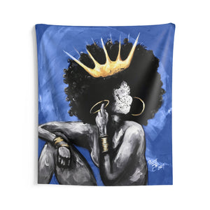 Naturally Queen VI BLUE Indoor Wall Tapestries