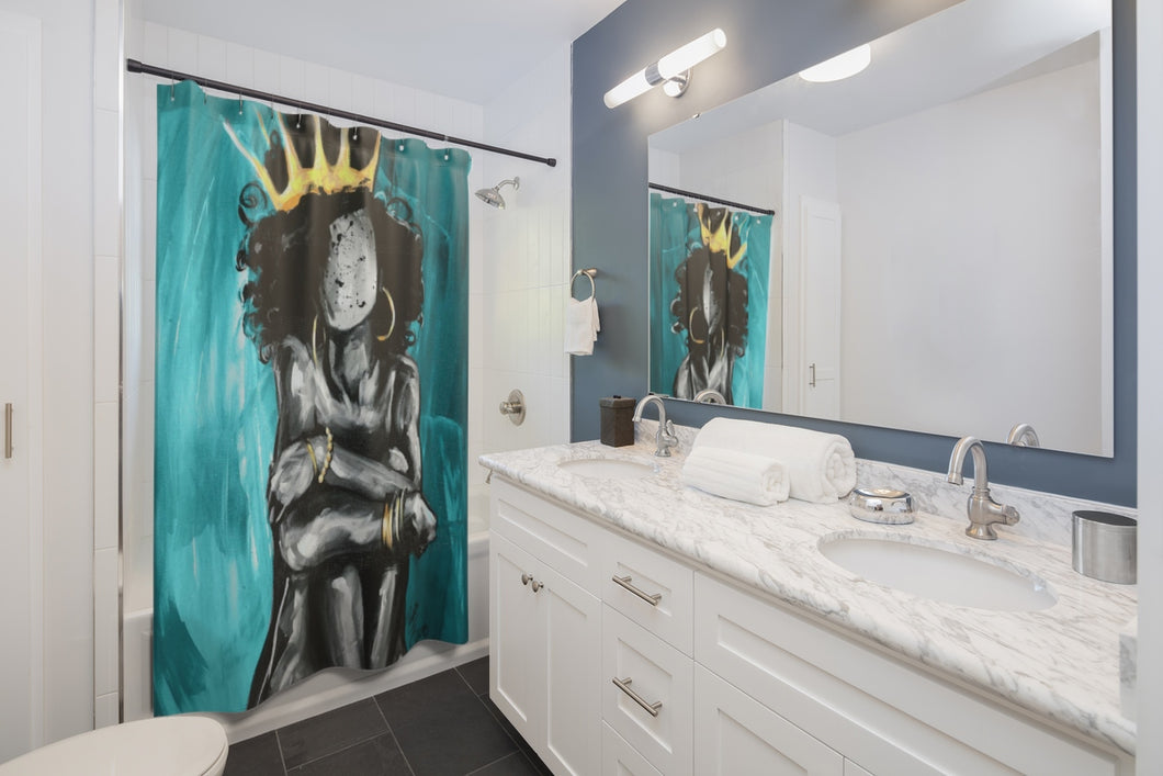 Naturally Queen IX TEAL Shower Curtains