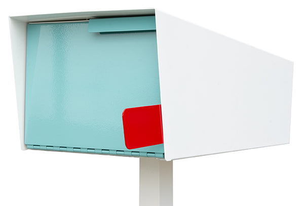 Modern Mailbox | Modern Mailbox with Post White/Robin Egg