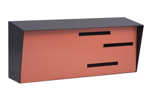 Mid Century Modern Mailbox Black/Coral | Horizontal | Handmade in the USA | Locking