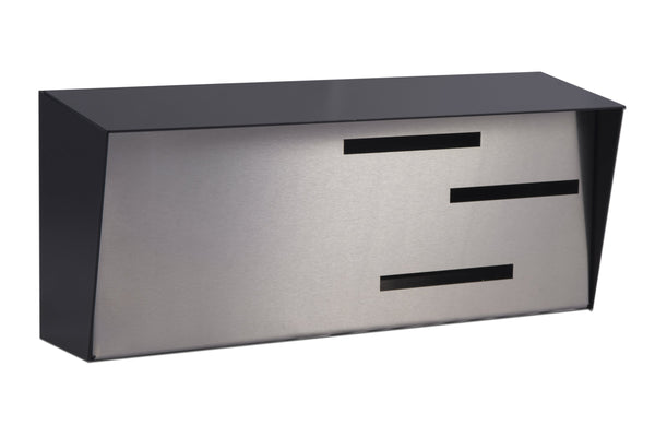 Mid Century Modern Mailbox Black/Stainless | Horizontal | Handmade in the USA