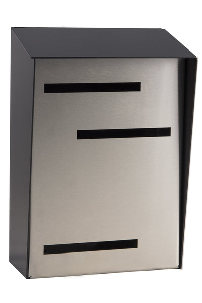Modern Mailbox | Mid Century Modern Mailbox | Black/Stainless Steel Modern Wall Mounted Mailbox Large