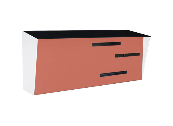 Mid Century Modern Mailbox Black/White/Coral | Horizontal | Handmade in the USA | Locking