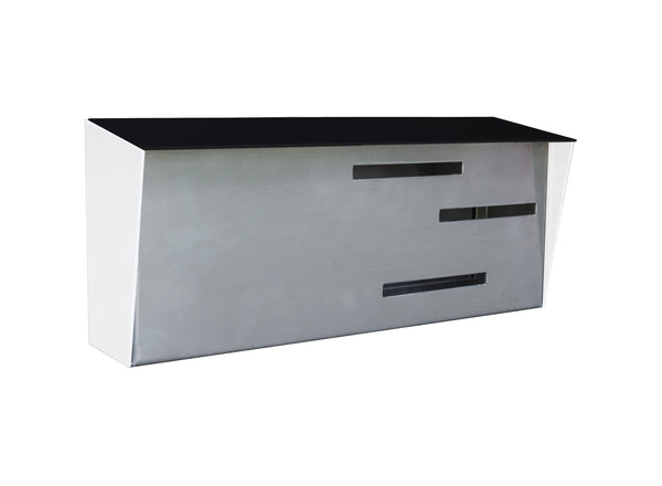 Mid Century Modern Mailbox Black/White/Stainless | Horizontal | Handmade in the USA