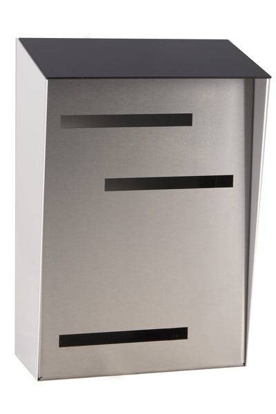 Mid Century Modern Mailbox Black/White/Stainless | Vertical | Handmade in the USA | Large