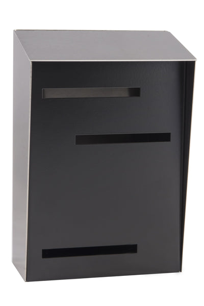 Mid Century Modern Mailbox Stainless/Black | Vertical | Handmade in the USA | Large