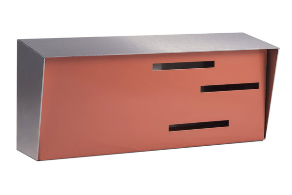 Mid Century Modern Mailbox Stainless/Coral | Horizontal | Handmade in the USA | Locking