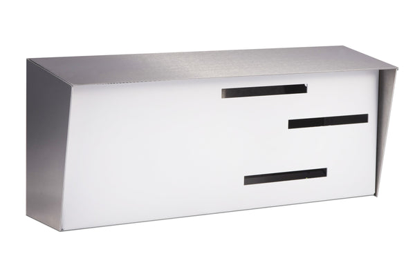 Mid Century Modern Mailbox Stainless/White | Horizontal | Handmade in the USA