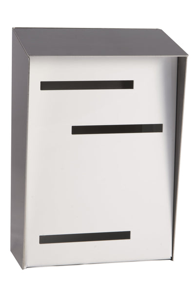 Modern Mailbox | Mid Century Modern Mailbox | Stainless Steel/White Modern Wall Mounted Mailbox Large