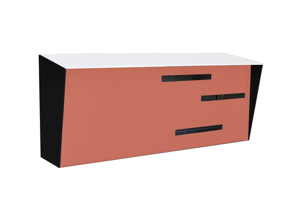 Mid Century Modern Mailbox White/Black/Coral | Horizontal | Handmade in the USA | Locking