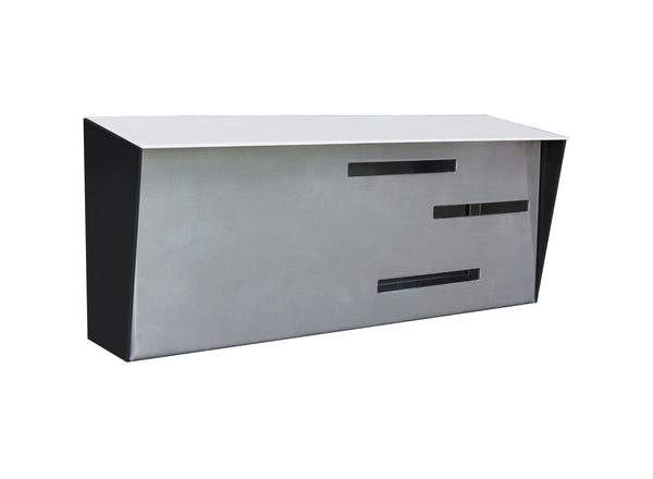 Mid Century Modern Mailbox White/Black/Stainless | Horizontal | Handmade in the USA