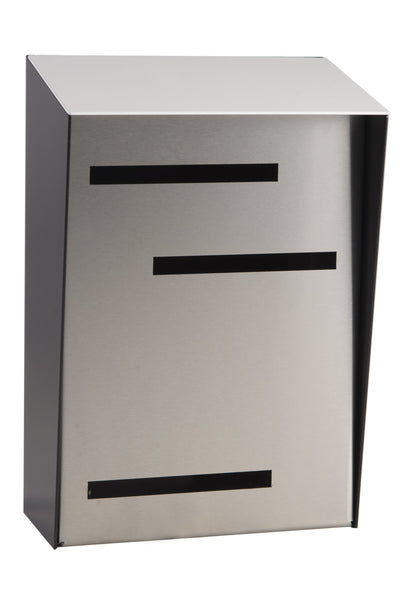 Mid Century Modern Mailbox White/Black/Stainless | Vertical | Handmade in the USA | Large