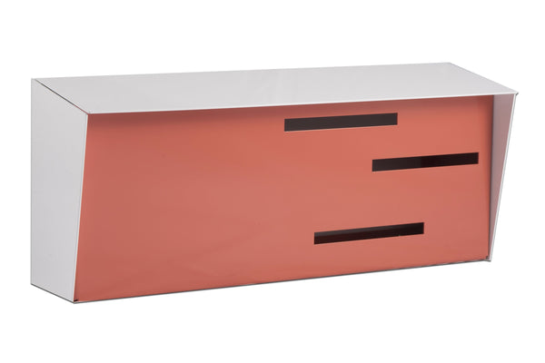 Mid Century Modern Mailbox White/Coral | Horizontal | Handmade in the USA | Locking