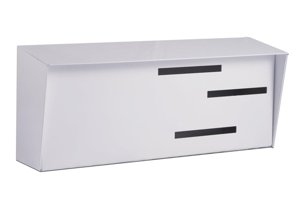 Mid Century Modern Mailbox White | Horizontal | Handmade in the USA | Locking