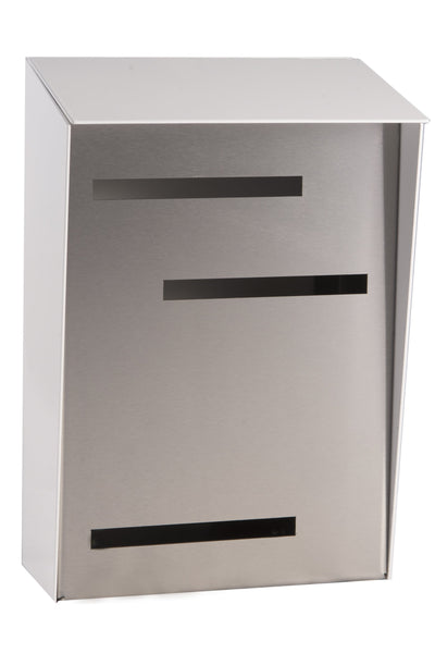 Modern Mailbox | Mid Century Modern Mailbox | White/Stainless Steel Modern Wall Mounted Mailbox Large