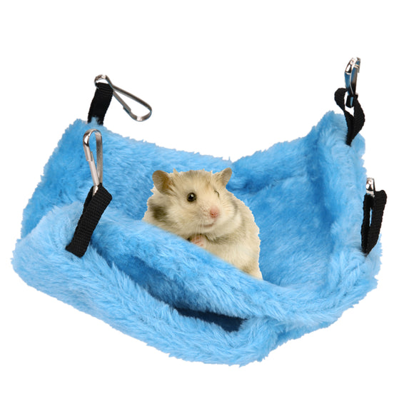 Coral Fleece Soft Plush Bird Parrot Hammock Hanging Cage Dual Layer Winter Warm Canary Hut Nest Christmas Present For Pets