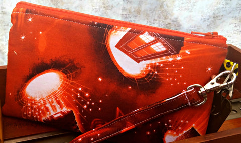 Dr. Who Orange Wristlet