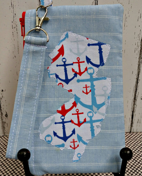 Jersey Girl Wristlet Clutch with Anchors