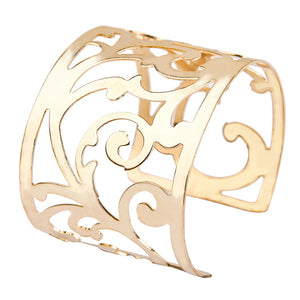 Women Hollow Flower Cuff Bangle Bracelet