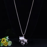 Crystal Cat Pendant Long Chain  Necklace