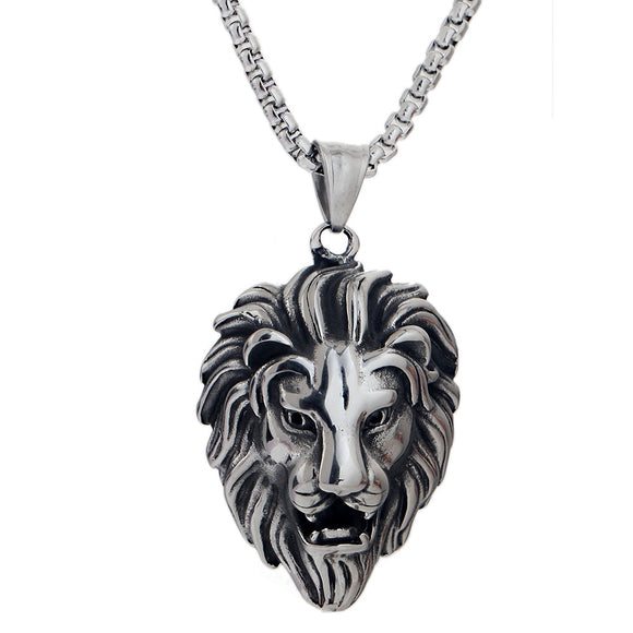 Lion Head Pendant Necklace For Men