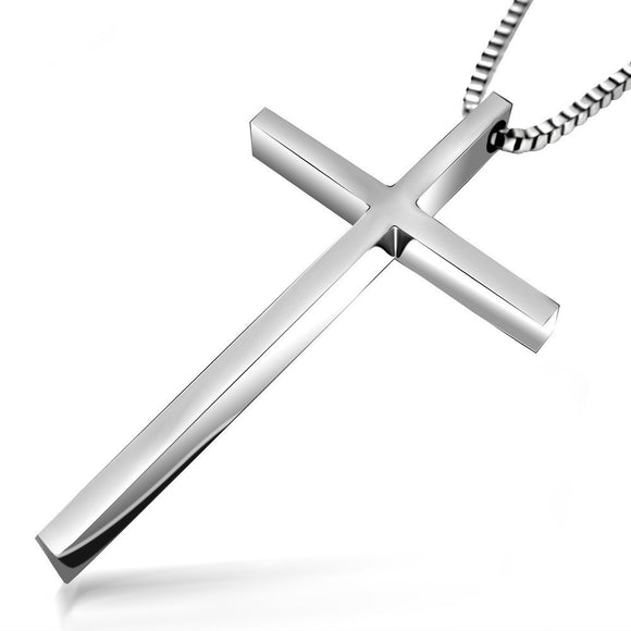 Titanium Cross Pendant Box Chain Necklace