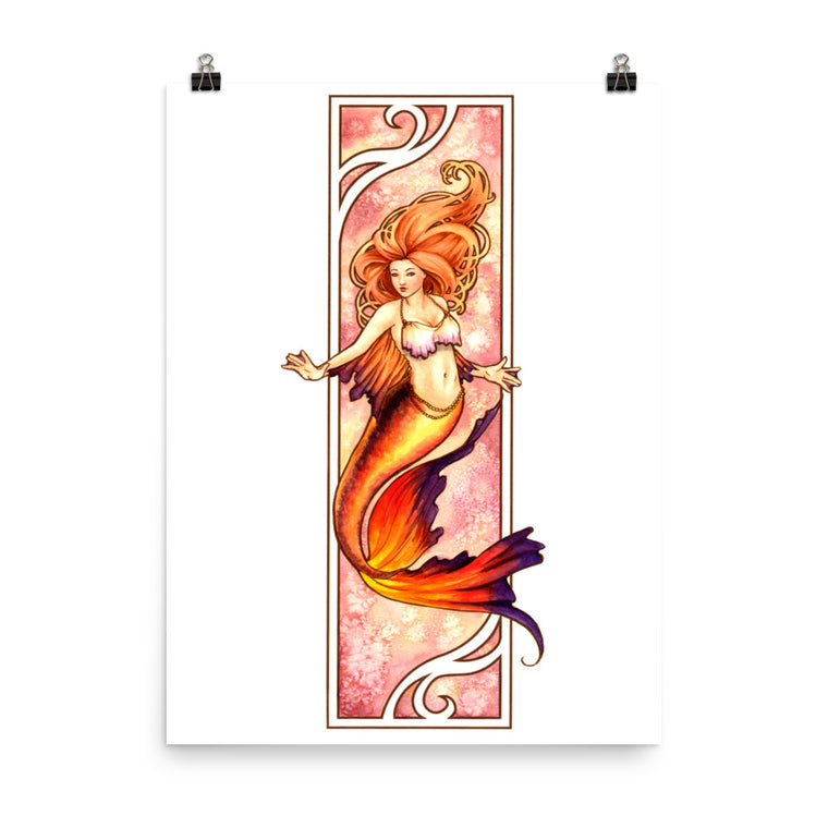 Art Print - Nouveau Mermaid Fire