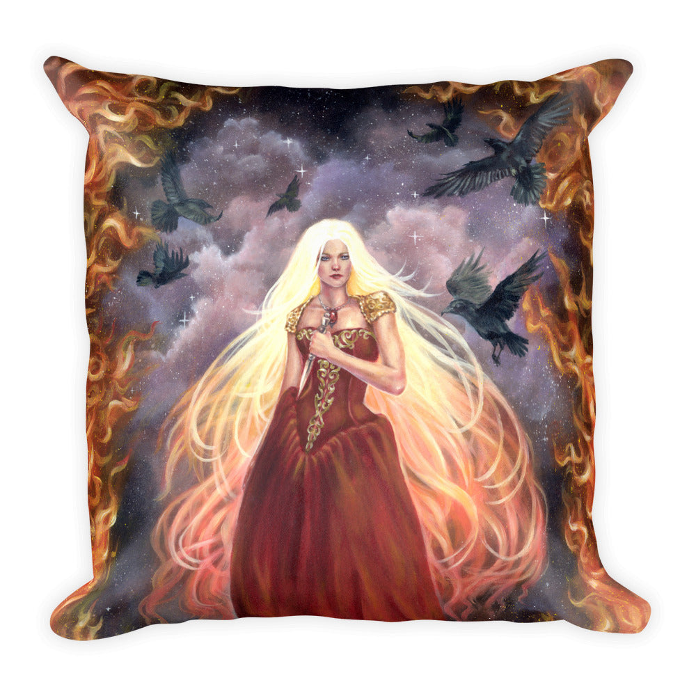 Square Pillow - Lady of Fire