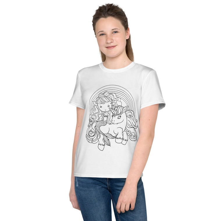 Mermaid and Unicorn Faedorable Youth T-Shirt - Colour Your Own