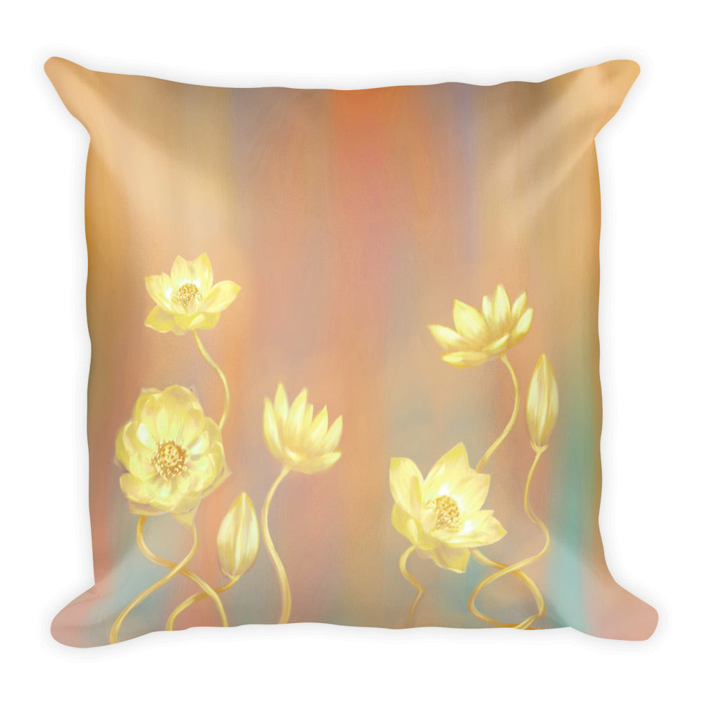 Square Pillow - Gold Lotus