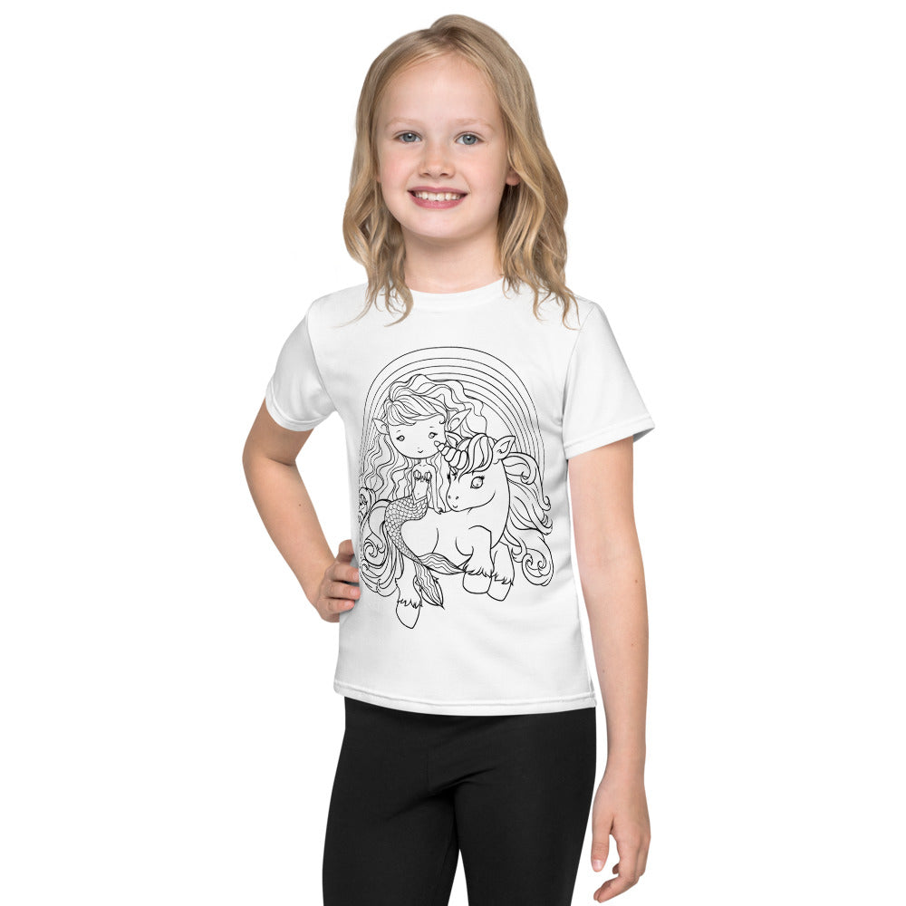 Mermaid and Unicorn Faedorable Kids T-Shirt - Colour Your Own