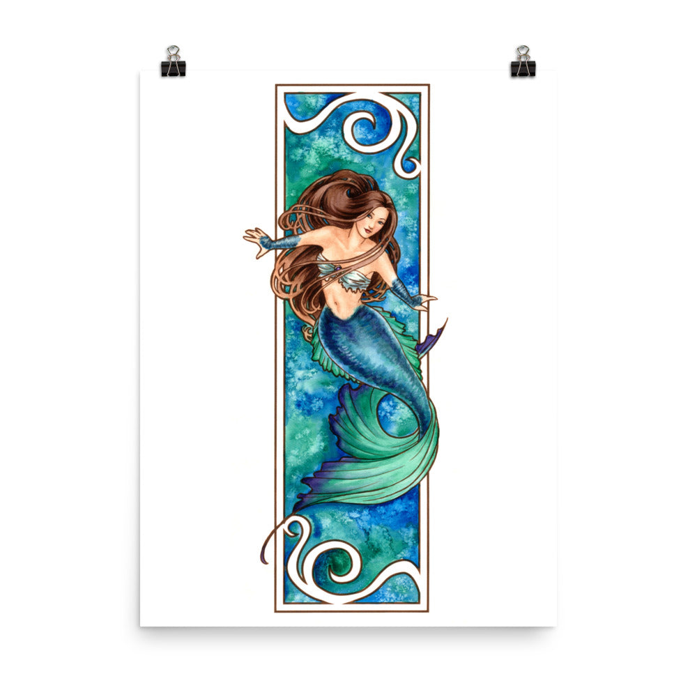 Art Print - Nouveau Mermaid Water
