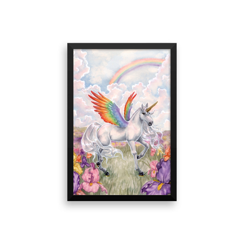 Framed Print - Unicorn Sisters Rainbow Wings