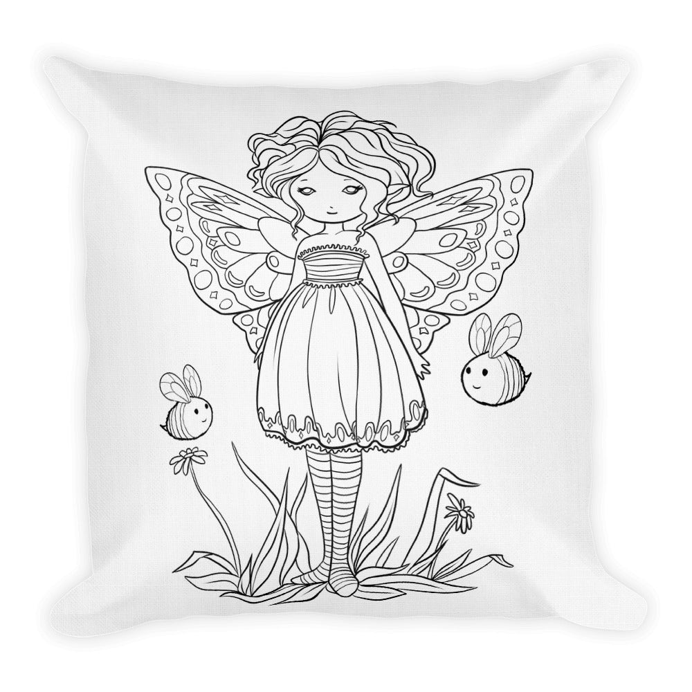 Square Pillow - Buzzy Buddies - colour your own