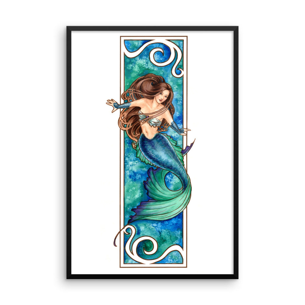 Framed Print - Nouveau Mermaid Water