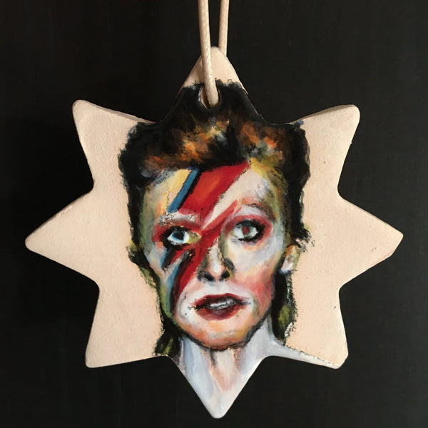 Handmade/Hand Painted David Bowie Ceramic Tree Ornament