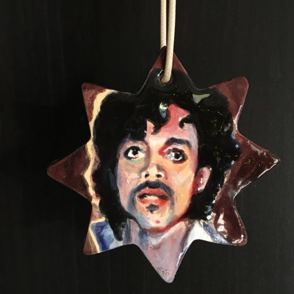 Hand built and hand painted ceramic Prince ornament