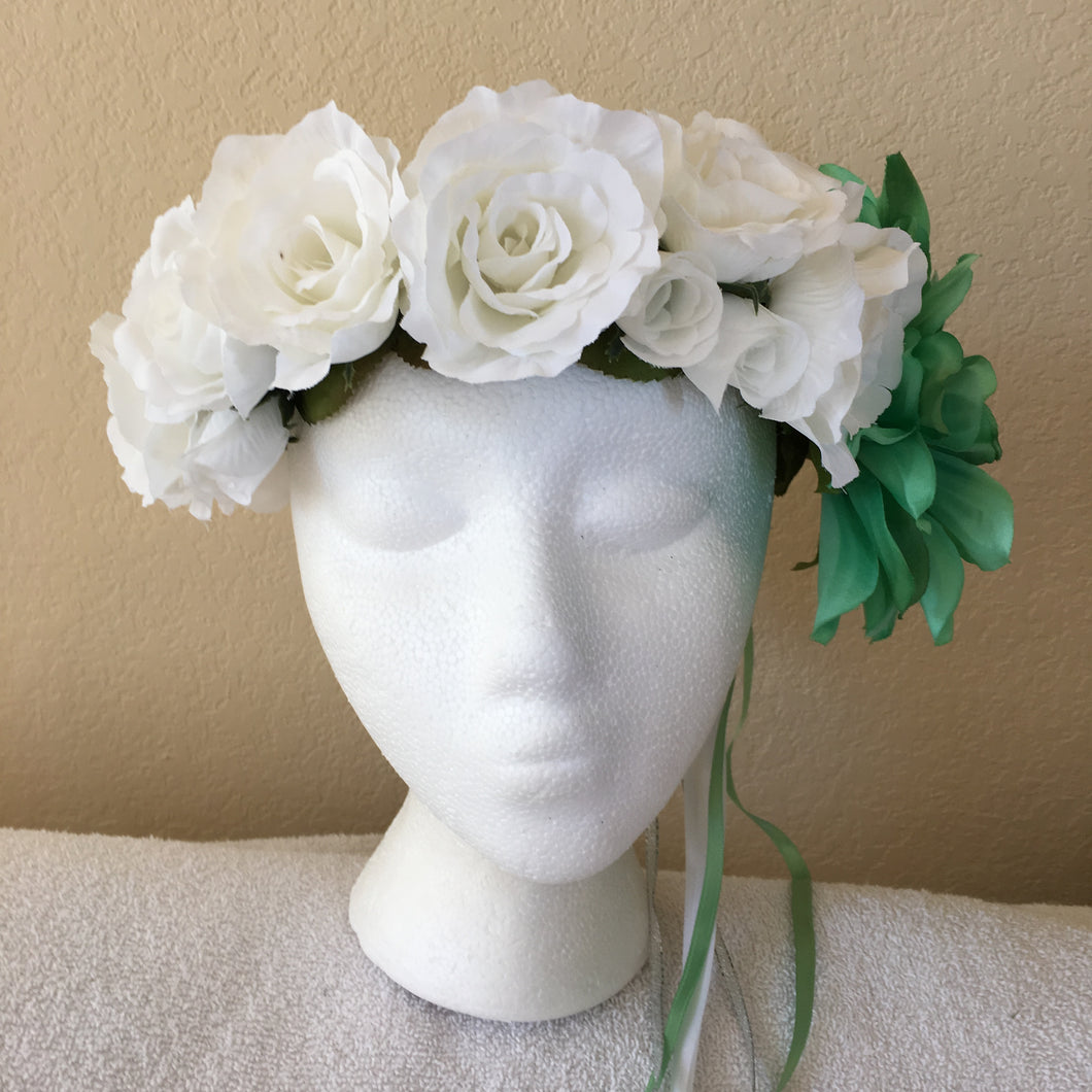 Large Wreath - White roses & one large mint green flower – Carli\'s ...