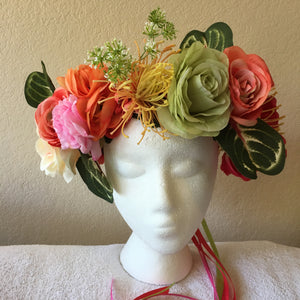 Extra Large Wreath Orange Pink Bright Green W Yellow Spiky
